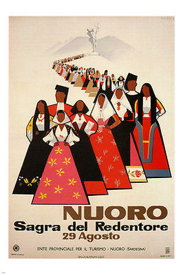 NOURO, festival of REDEEMER vintage poster Mario Puppo ITALY 1954 24X36