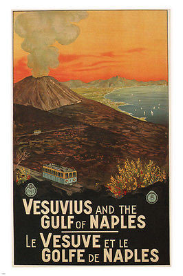 Vesuvius & the Gulf of Naples travel poster MARIO BORGONI italy 1925 24X36