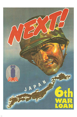 JAPAN NEXT 6TH WAR LOAN vintage poster 24X36 SOLDIER ww2 propaganda
