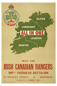 all in one with the IRISH CANADIAN RANGERS vintage ad poster MAP 24X36 new