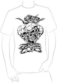 3 SCARY GRUNGE SKULLS W/ CROWN BONES TATTOO T-SHIRT HOT RARE NEW  - A10