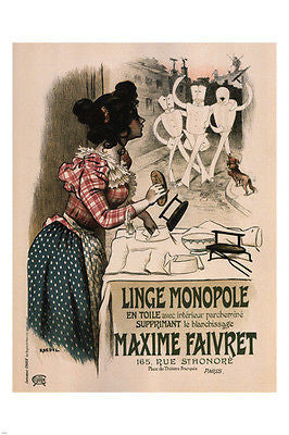 Linge Monopole VINTAGE AD POSTER by Roedel FRANCE 1897 24X36 HOT NEW RARE