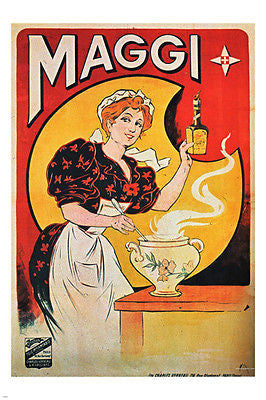 MAGGI vintage poster COOKING sauce lady in apron & bonnet 24X36 OLD school