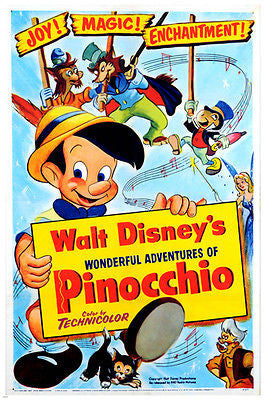 Walt Disney's THE ADVENTURES OF PINOCCHIO Animated Characters 24X36 Magic