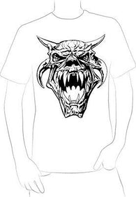 BEASTY SCARY DEMON SCREAMING SKULL W/ HORNS TATTOO T-SHIRT NEW HOT  - A10