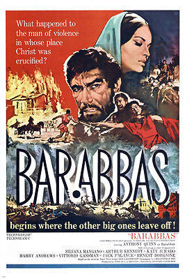 BARABBAS movie poster ANTHONY QUINN biblical PASSION OF CHRIST drama 24X36