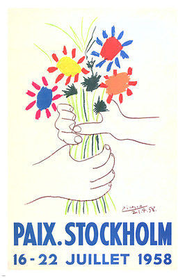 famous PAIX POSTER Stockholm France 1958 Flowers Classic 24X36 COLLECTORS
