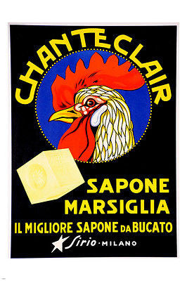 CHANTECLAIR soap vintage ad MARSEILLE MILAN 24X36 first rate COLLECTORS