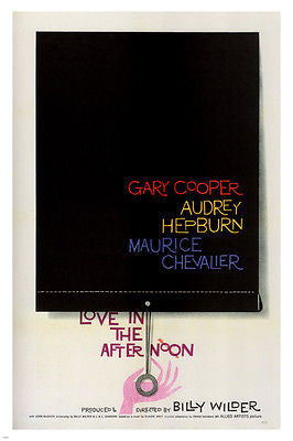 LOVE IN THE AFTERNOON movie poster GARY COOPER AUDREY HEPBURN USA '57 24X36