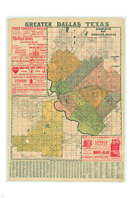 WORLEY'S GREATER DALLAS map poster 1905 24X36 details color-coded HISTORICAL