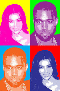 K. WEST singer & K. KARDASHIAN celebrity multiple image POP ART POSTER 24X36