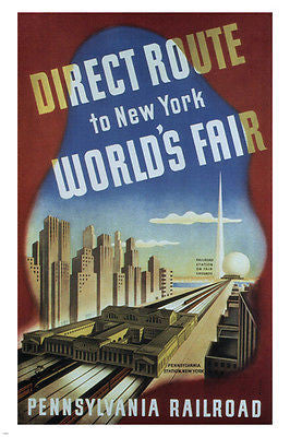DIRECT ROUTE to NEW YORK WORLDS FAIR Poster Sascha Maurer US 1939 24X36