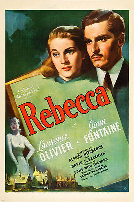 LAURENCE OLIVIER JOAN FONTAINE movie poster REBECCA psycho THRILLER 24X36
