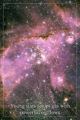 POWERFUL GAS OUTFLOW Hubble space telescope image POSTER 24X36 YOUNG STARS