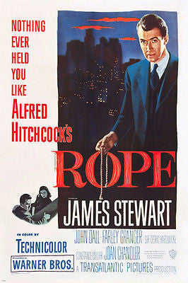 HITCHCOCK'S rope MOVIE poster JAMES stewart MURDER suspense THRILLS 24X36