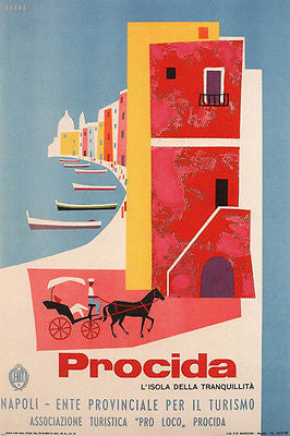 Procida VINTAGE TRAVEL POSTER MARIO PUPPO ITALY 1954 24X36 hot collectors!