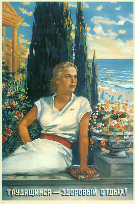 Healthy vacation for workers VINTAGE POSTER Soviet Union 1948 24X36 RARE