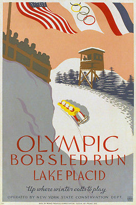 Olympic BOBSLED RUN Lake Placid vintage poster NY Conservation Dept 24X36