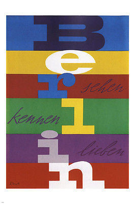 BERLIN TRAVEL POSTER Germany 1955  Richard Blank 24X36 MODERN ART hot rare