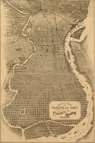 1870 BIRDSEYE VIEW OF PHILADELPHIA PA basic historic grid 24X36