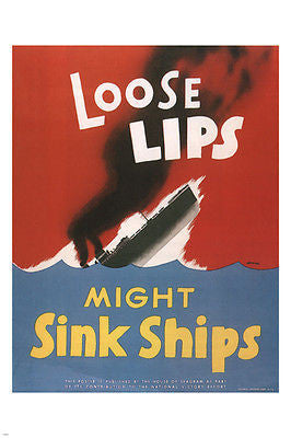 LOOSE LIPS MIGHT SINK SHIPS poster United States 1942 24X36 War Classic