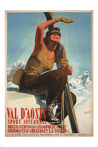 AOSTA VALLEY winter sports G BOCCASILE POSTER italy 1947 24X36 SKI ADVENTURE