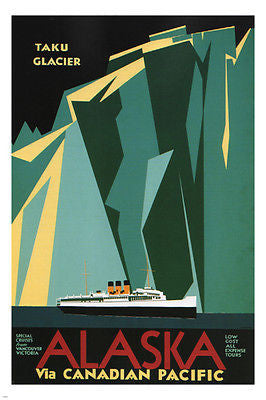 Alaska via Canadian Pacific POSTER 1936 charles greenwood 24X36 MAJESTIC