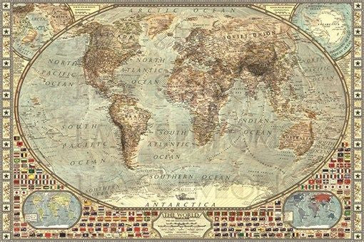 vintage WORLD MAP 1938 poster NATIONAL FLAGS rare collectors COLORFUL 24X36