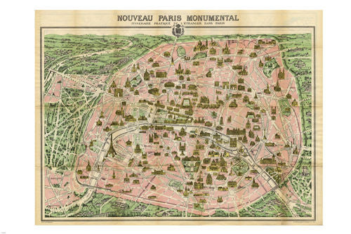 19th century PARIS MONUMENTAL TOURIST MAP poster rare COLLECTABLE 24X36  -PW9