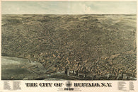 1880 HOWARD'S MAP OF BUFFALO NY  3-D POSTER historic detailed 24X36