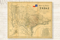 1849 HISTORIC MAP OF REPUBLIC OF TEXAS POSTER german topographic 24X36-VW0
