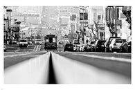 BLACK AND WHITE PHOTOGRAPHY san francisco cable car HISTORIC CITYSCAPE 24X36