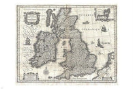 BLAEU MAP OF THE BRITISH ISLES map poster GEOGRAPHICUS 1631 detailed 24X36