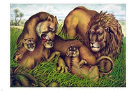 the lion family VINTAGE FINE ART POSTER 1874 24X36 animal painting