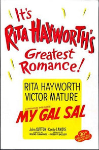 1942 HOLLYWOOD MOVIE POSTER my gal sal RITA HAYWORTH musical COLORFUL 24X36