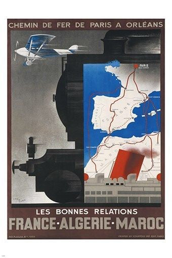 french railways to NORTH AFRICA vintage TRAVEL POSTER first rate 24X36 NEW