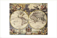 antique maps OF THE WORLD - DOUBLE HEMISPHERE - vintage poster 1680 24X36