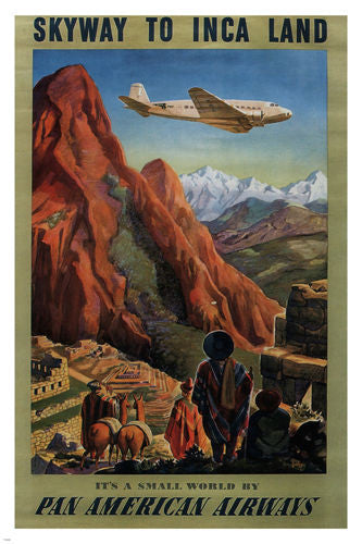skyway to INCA LAND VINTAGE TRAVEL POSTER united states 1930 24X36 GORGEOUS
