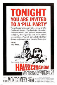 1966 vintage cult movie poster HALLUCINATION GENERATION drug culture 24X36