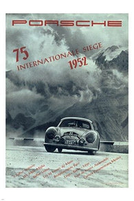 VINTAGE 1952 RACING vintage sports poster B/W SPEED STYLE 24X36