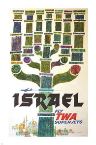 FLY TWA vintage travel poster ISRAEL traditional menorah RELIGIOUS 24X36 hot