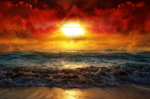 BEAUTIFUL SUNRISE poster AMAZING colors clouds ocean white waves RARE 24X36- QW9