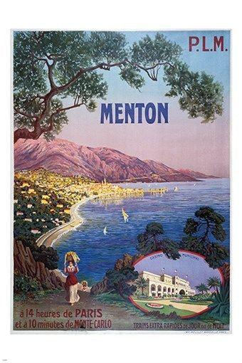 MENTON FRANCE vintage train travel poster COLORFUL COASTLINE flowers 24X36