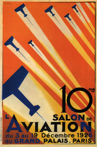 10th PARIS air show VINTAGE ad poster R. de valério FRANCE 1926 24X36 FLYING