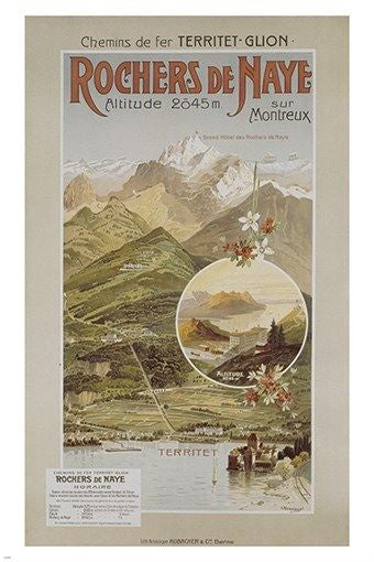 SWISS VINTAGE train travel poster ROCHERS DE NAYE mntns LAKE GENEVA 24X36