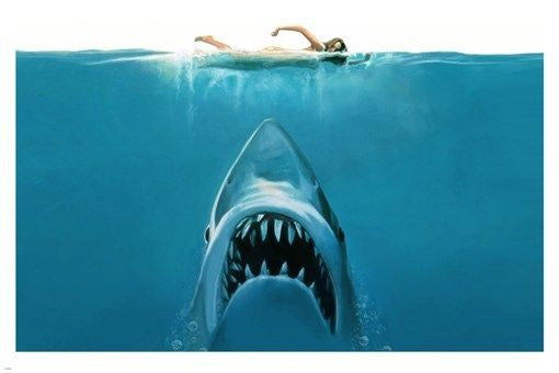 JAWS shark attack PAINTING POSTER 24X36 SCARY ocean swimming TEETH hot –  Poster Merchant