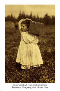 1910 vintage 8 years old cranberry picker PHOTO POSTER New Jersey 24X36