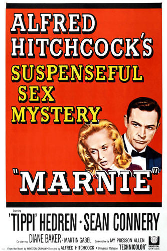 TIPPI Hedren SEAN Connery MARNIE movie poster SUSPENSE sex MYSTERY 24X36