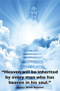 HEAVEN in his SOUL inspirational RELIGIOUS POSTER jesus image 24X36 LIGHT