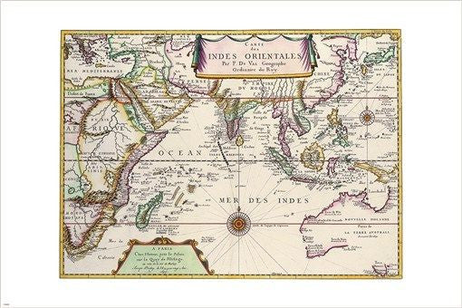 FRENCH MAP of ORIENTAL INDIA 1677 vintage CARTOGRAPHY POSTER historic 24X36